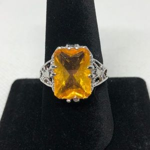 925 SF Emerald Cut Citrine Cocktail Ring Size 9
